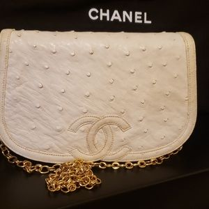 Chanel vintage mini ostrich bag